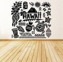 Autocollants muraux en vinyle   Étiquette autocollante, décoration de maison créative, motif artistique, hawaïen, plage, Fun, Tiki, tortue, océan, murale ZB168