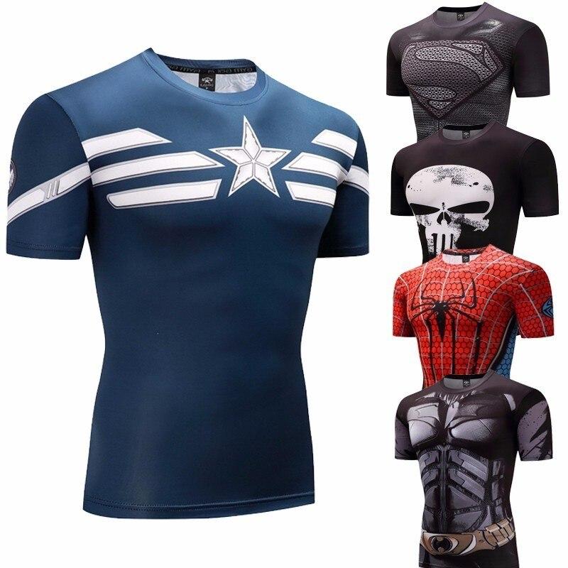 Camiseta de compresión de culturismo de Capitán América traje de cosplay de hombres 3D Anime clásico Superman castigador camiseta
