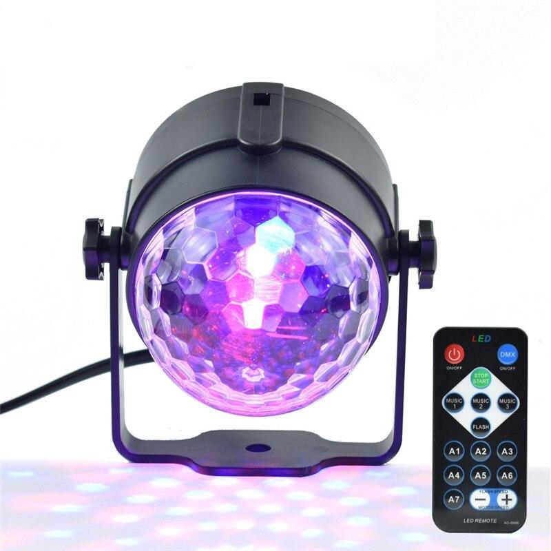 1 pcs Dimmable Fácil Instalar 3 w AC100-240V Decorativo-Controlado Remoto Luzes Do Palco LED RGB Spot Light RGB Comercial bola mágica
