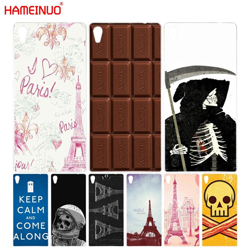 HAMEINUO Eiffel Tower Skull Chocolate Cover phone Case for sony xperia z2 z3 z4 z5 mini plus aqua M4 M5 E4 E5 C4 C5