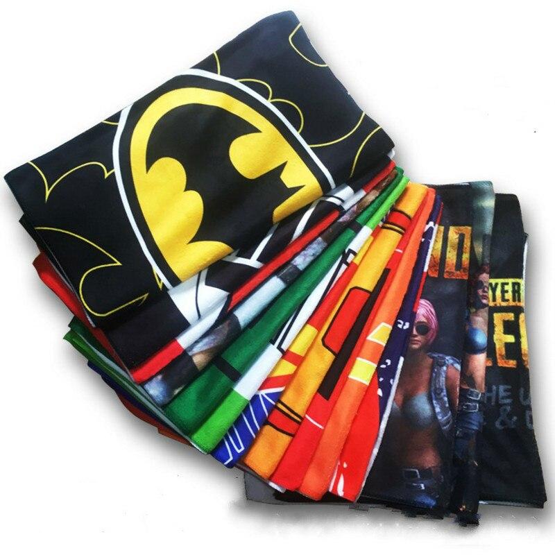 Dc super-herói filme os vingadores jogo pubg homem de ferro deadpool batman capitão américa cosplay trajes adereços toalha de banho presente