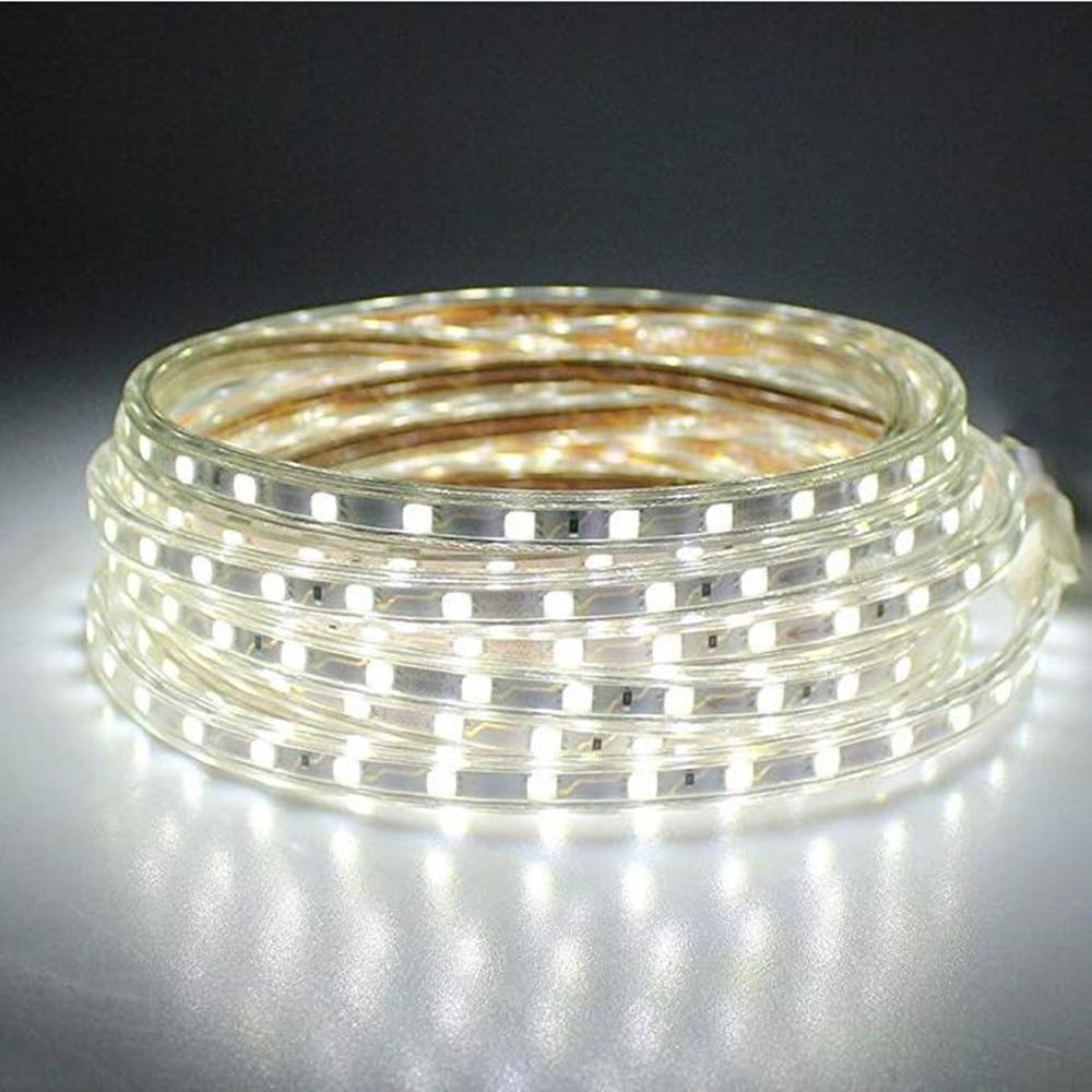 220V EU Plug SMD 5050 LED Strip Light Waterproof Decor Lamp LED Flexible Light Diode Ribbon Tape Kitchen Lighting 1M 2M 3M 4M 5M  - buy with discount