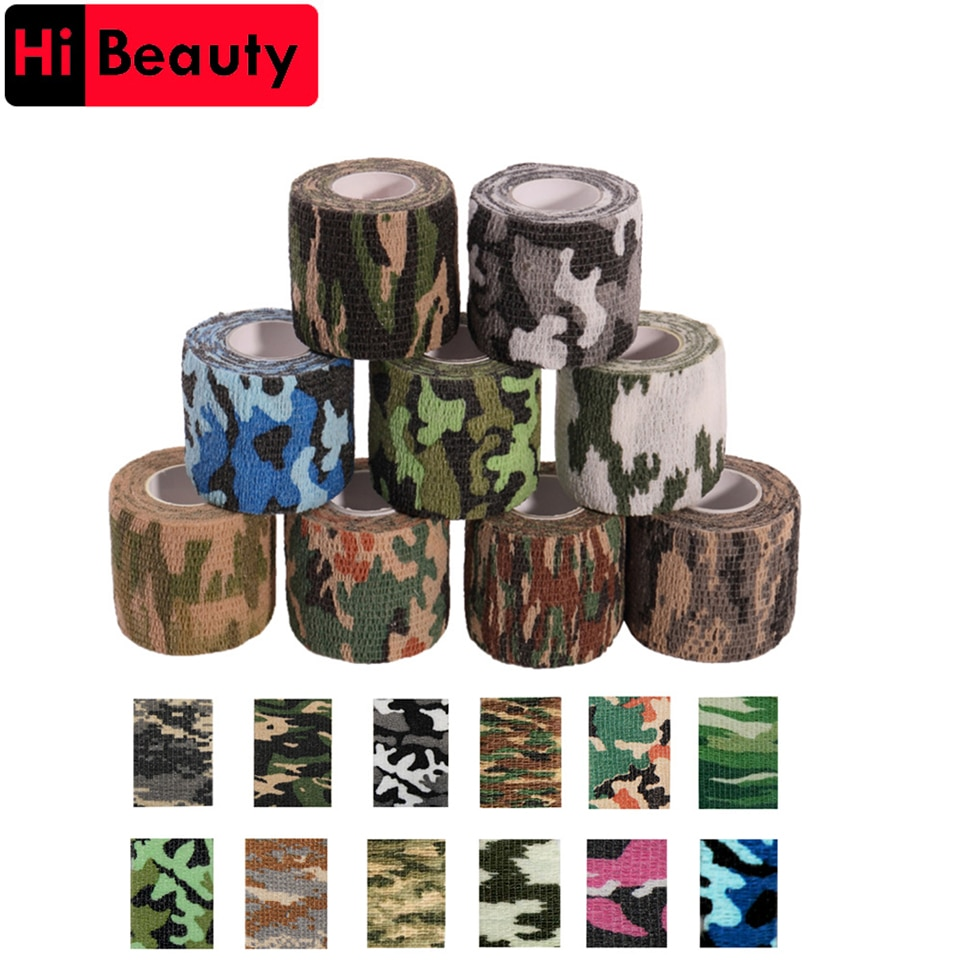 6pcs tattoo self adhesive elastic 5cm wide elbow tattoo handle bandage nail tapes finger protection wrap non slip cloth tape 1 Roll 5*450cm Disposable Self-adhesive Flex Elastic Camouflage Bandage Tattoo Handle Grip Tube Wrap Elbow Stick Medical Tape