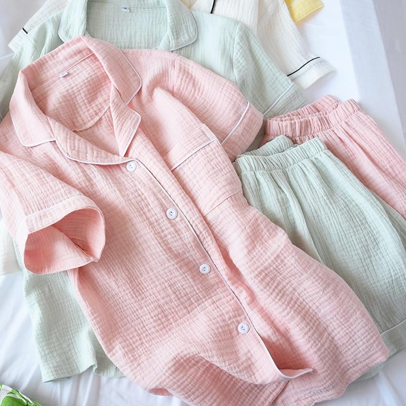 Letnia krepa bawełniana spodenki z krótkim rękawem piżamy damskie solidna cienka seksowna piżama Loungewear bielizna nocna różowa para w domu Pijamas