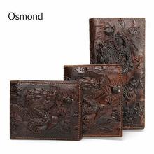 Osmond Vintageของแท้หนังผู้ชายกระเป๋าสตางค์การออกแบบที่ไม่ซ้ำกันรูปแบบมังกรจีนชายพับยาวสั้นกระเ...