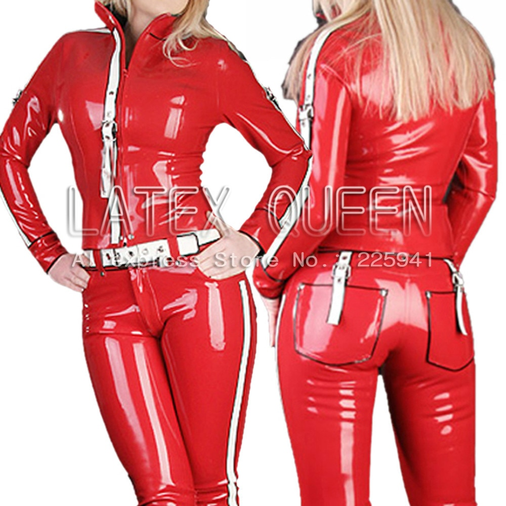 Fascinating Rubber Latex Maillot(top and pants)(with belt)