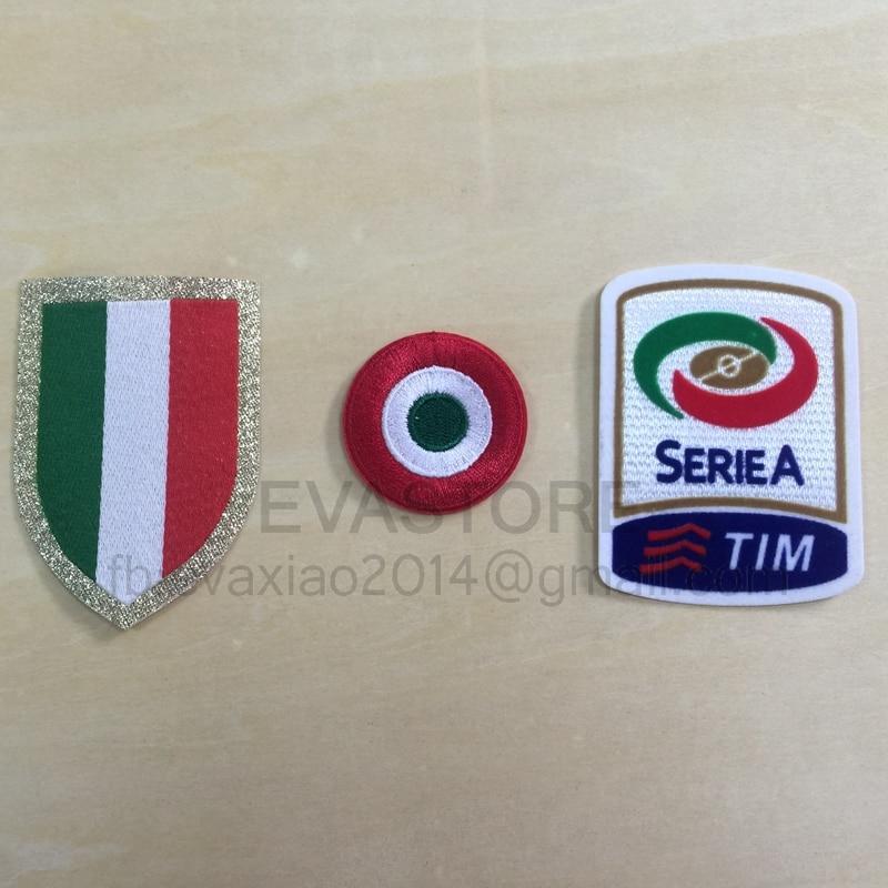 3 uds Italia Fútbol parche 15-16 rojo coppa Italia círculo Scudetto parche Scudetto + Italia parches Serie a