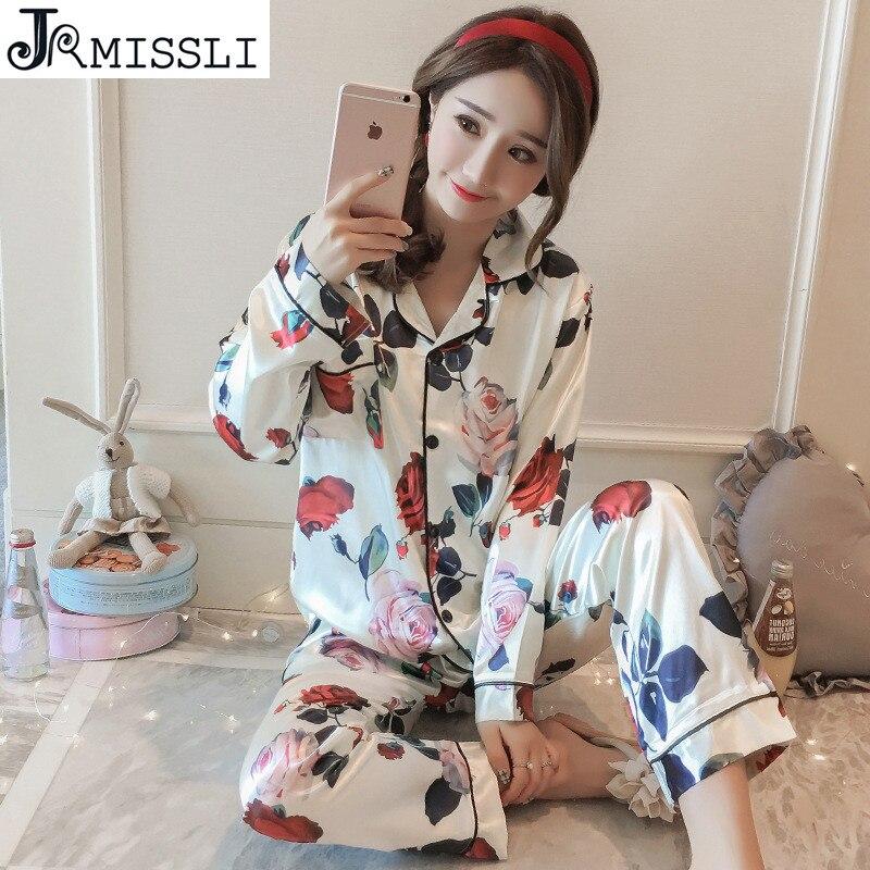 JRMISSLI 2 Pics Silk Pajamas For Women Luxury Womens Pajamas Womens Pajamas Set Home Long Sleeve