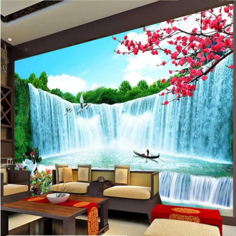 Papel tapiz personalizado beibehang, murales de cualquier tamaño, foto de cascada, ventana, magnífica riqueza, billow, Fondo de paisaje