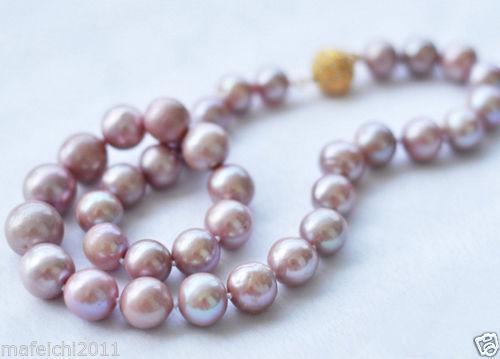 Fine 8-9MM Genuine Lavender akoya cultured pearl necklace