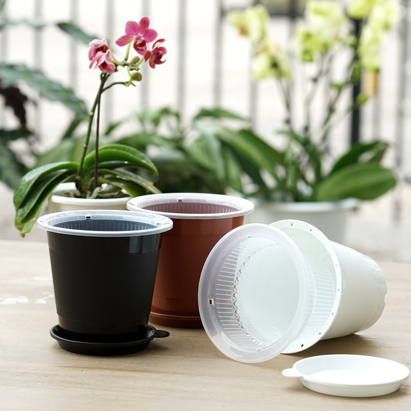 Meshpot 4 Inches Plastic Clear Orchid Pot With Holes,Flower Pot Planter Orchid Planter Container Prevent Rotting