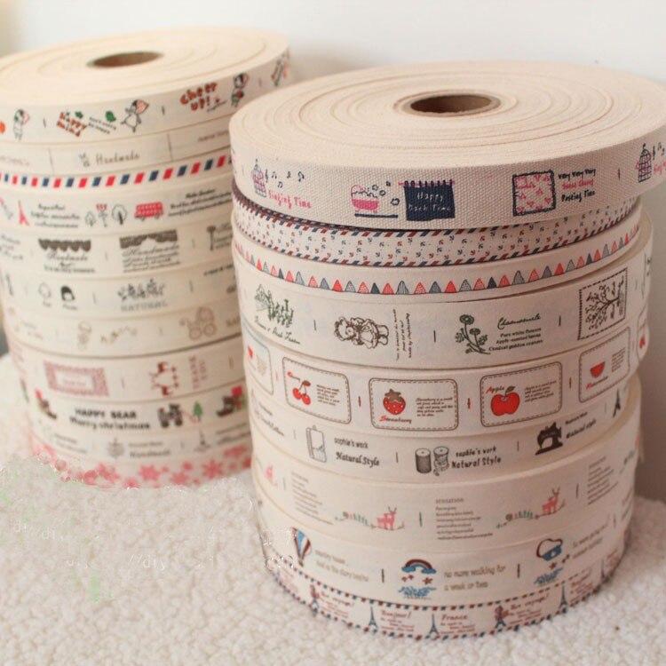YY DIY 20 diseños mixtos Zakka 100% cinta estampada de algodón, 1M de cada diseño, etiquetas de costura de moda, promoción no tejida DIY