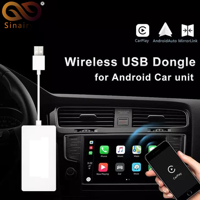 Sinairyu inalámbrico enlace inteligente Apple CarPlay Dongle para Android navegación jugador Mini USB Carplay Stick con Android Auto
