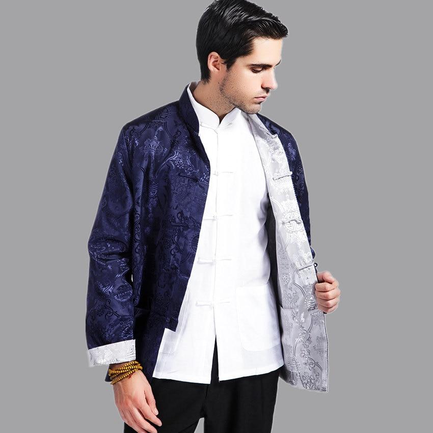 Chaqueta de kungfú Reversible de color azul marino y plateado, abrigo de...