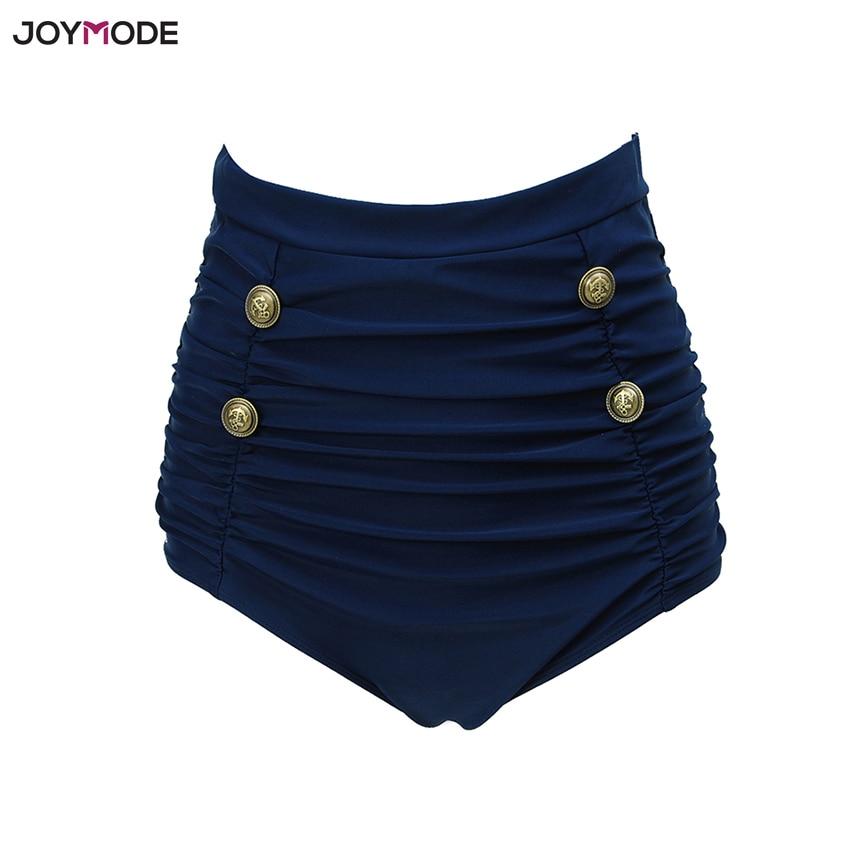 JOYMODE 2018 pantalones de baño de mujer de cintura alta Bikini Briefs Swim Ruched Swimwear Navy Boat botones playa Shorts traje de baño bragas