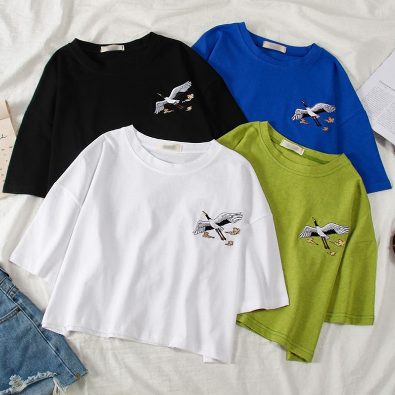 Ulzzang bf bordado harajuku curto t camisa verão manga curta básico t-shirts moda feminina tshirt estilo coreano meninas topo de colheita