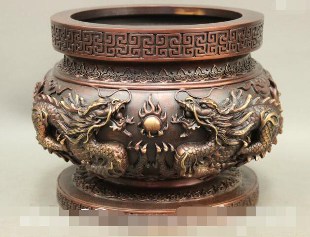 S03377 10 pulgadas budismo chino estatua de Dragon Ball de bronce puro tarro quemador de incienso tamaño 21x21x15cm