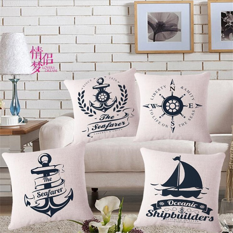 Modernas almohadas decorativas para el hogar, cojín de velero de mar, funda de cojín de ancla de barco, funda de cojines de viaje 45x45cm