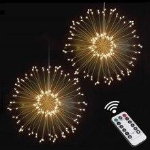 Diy fogos de artifício led fada string luz dobrável a pilhas gerlyanda guirlanda controle remoto para decoração de natal ao ar livre