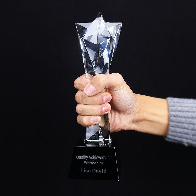 H & d personalizado cristal troféu estrela de vidro decorativo prêmio esportes eventos lembranças anual reunião prêmios troféu música decoração da sua casa