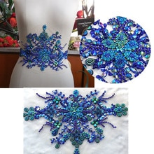 BI.Dw.M, créatif strass Appliques Patch 35x22cm bleu Royal perlé patchs Sequin Applique coudre sur vêtements de mariage mariée bricolage