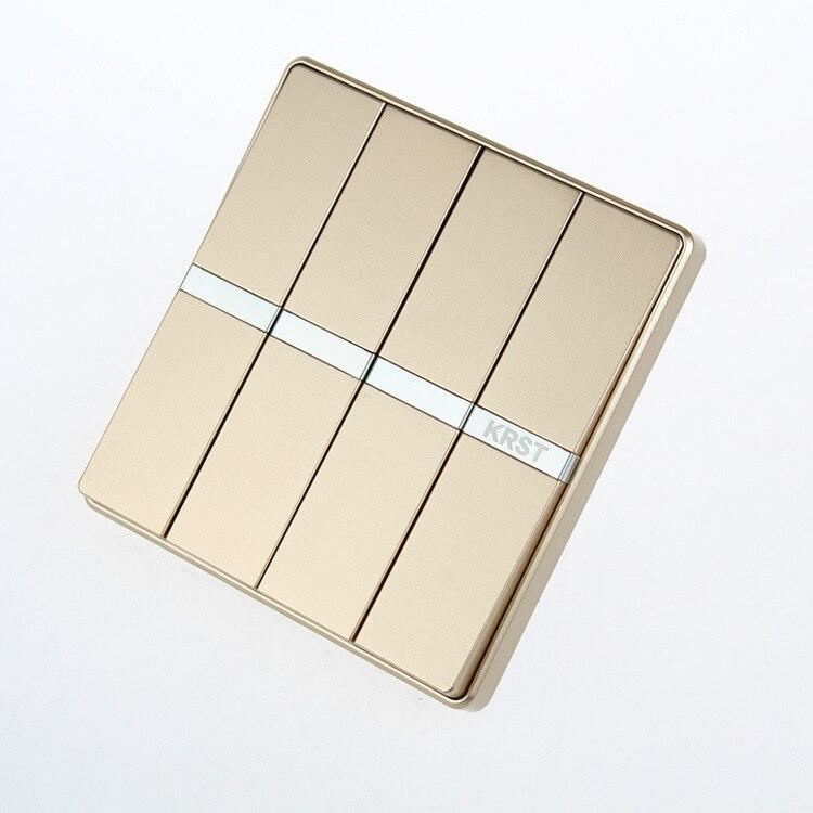 Enchufe del interruptor de pared del mobiliario del hogar, 86 placa grande oculta de champán dorado, cuatro interruptores de Control simple, 10A PC 220 V