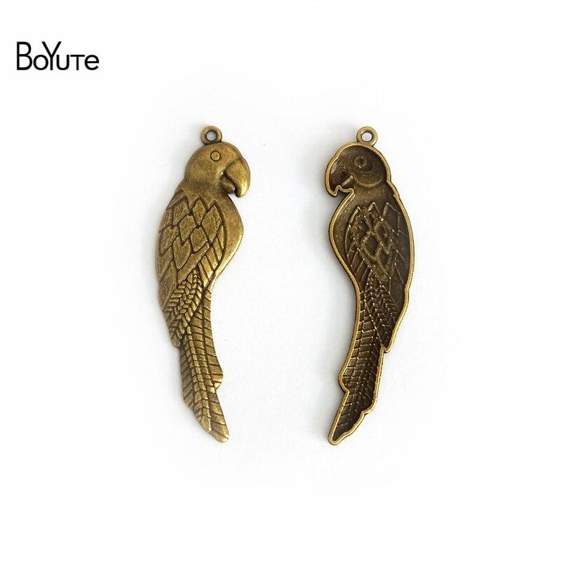 BoYuTe (30 Pieces/Lot) 15*58MM Zinc Alloy Materials Antique Bronze Plated Parrot Pendants for Diy Jewelry Accessories Parts
