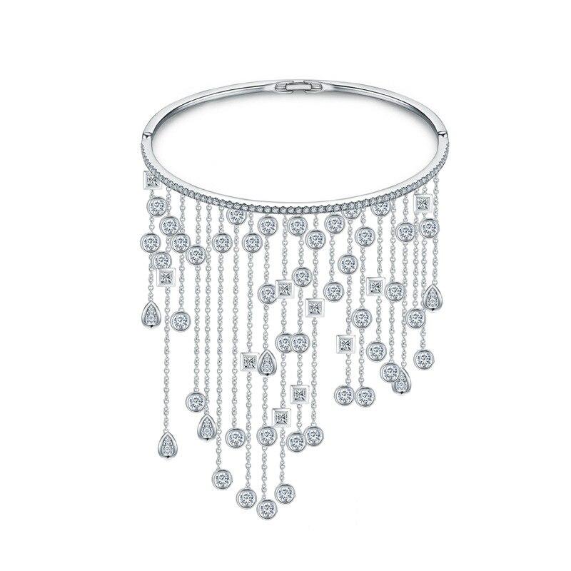 Brazaletes con borlas de Zirconia cúbica de diseño de marca de lujo para mujer, joyería de fiesta de Color plateado, estilo ZK40