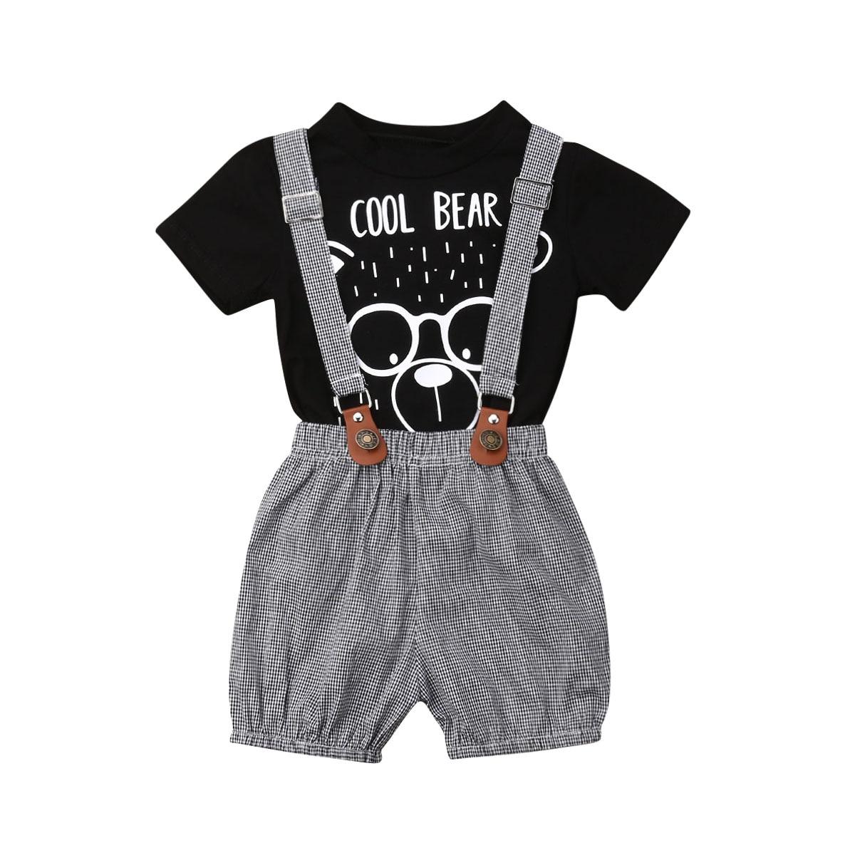 Conjunto de 2 uds. De camisetas de algodón de manga corta para niños y niñas con tirantes de cuadros, pantalones cortos, monos, ropa de verano