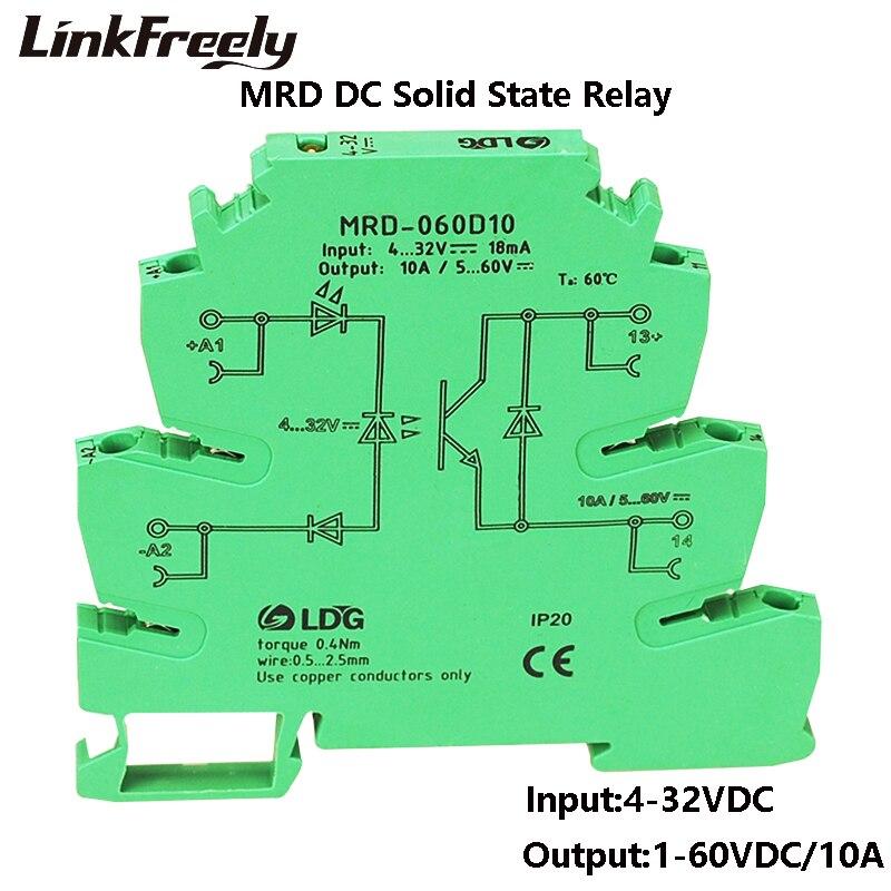 MRD-060D10 10A Mini Led Indicator Ssr Solid State Relais Dc Dc Input 5V 12V 24VDC Interface Spanning Schakelaar Relais Module Din Rail
