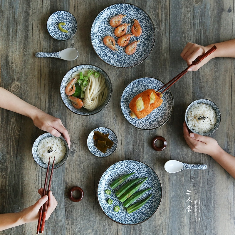 طقم أواني مائدة سيراميك على الطريقة اليابانية ، طقم عشاء بورسلين ، أطباق مطبخ للمطعم ، بورسلين أبيض