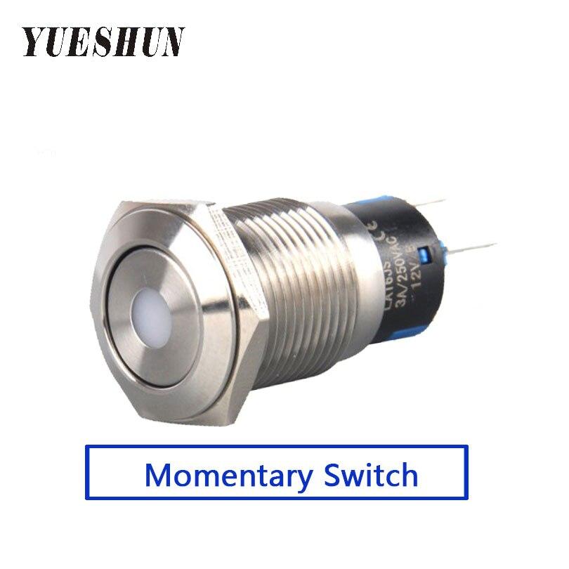 YUESHUN, 10 Uds., interruptor de luz de 16mm, equipo eléctrico de acero inoxidable, interruptor de botón pulsador LED iluminado por puntos