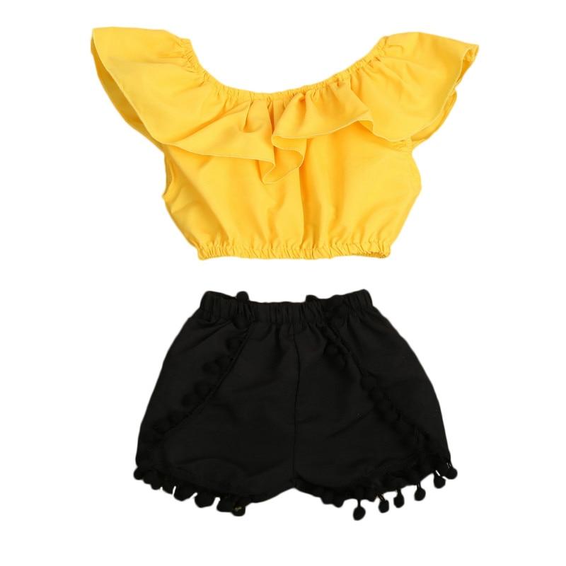 Toddler Kids Girls Summer Clothes  Set Kids Ruffles Blouse Crop Top +Tassels Short Bottoms 2Pcs Clothing Sunsuit Set 2-8Y