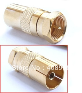 F Male TO PAL Female PLUG TV coax cable Connectors +