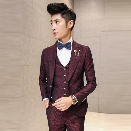 Traje de graduación para hombre con Pantalones rojo Floral Jacquard trajes de boda para hombres 3 piezas conjunto (chaqueta + + Pantalones chaleco) Coreano delgado vestido de ajuste 13