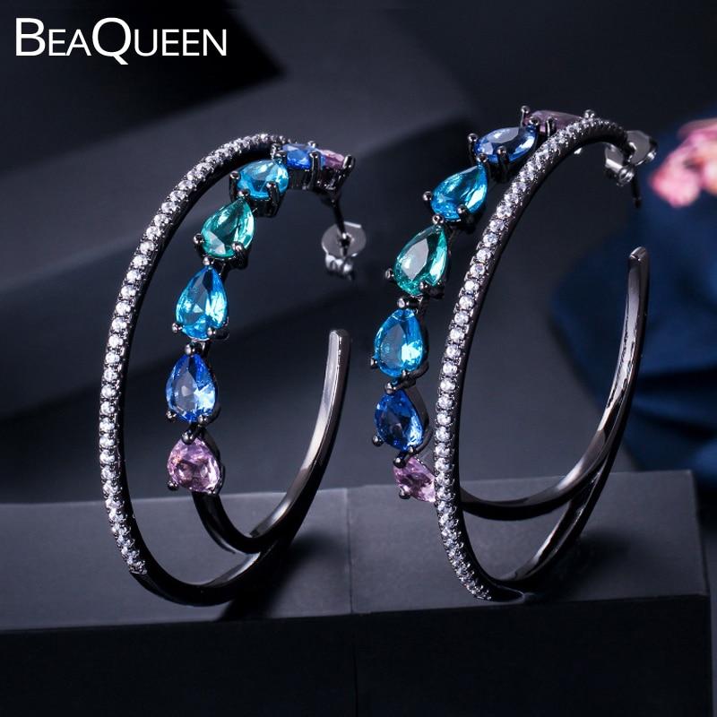 Женские серьги-кольца BeaQueen, большие круглые серьги черного цвета, зеленого, синего, розового цветов с радужным фианитом, E280