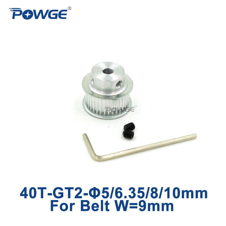 POWGE 1 Uds 40 dientes 2M 2GT polea de distribución diámetro 5/6. 35/8/10mm para ancho 9mm 2MGT GT2 conteo de tiempo abierto cinturón 2GT polea 40 dientes 40T