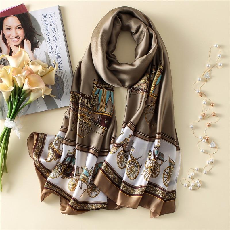 Women Luxury Digital Print Silk Scarf Large Stole Wrap Brand Soft Foulard Summer TOP
