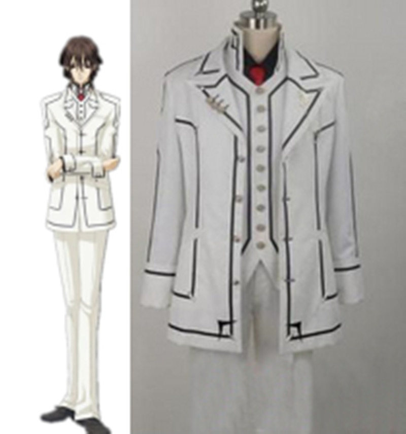 Anime Vampire Knight Kuran Kaname Traje Cosplay Uniforme Branco Terno Preto Conjunto Completo de Tamanho Personalizado