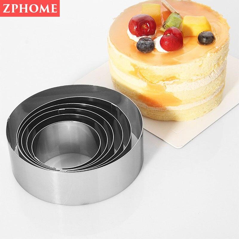 Redondo de acero inoxidable de anillo DIY juego de moldes para pasteles herramienta para hornear molde Galleta de seis piezas