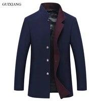 2018 new style men boutique leisure woolen overcoat business casual solid slim mens stand collar woolen blazer jacket m 3xl