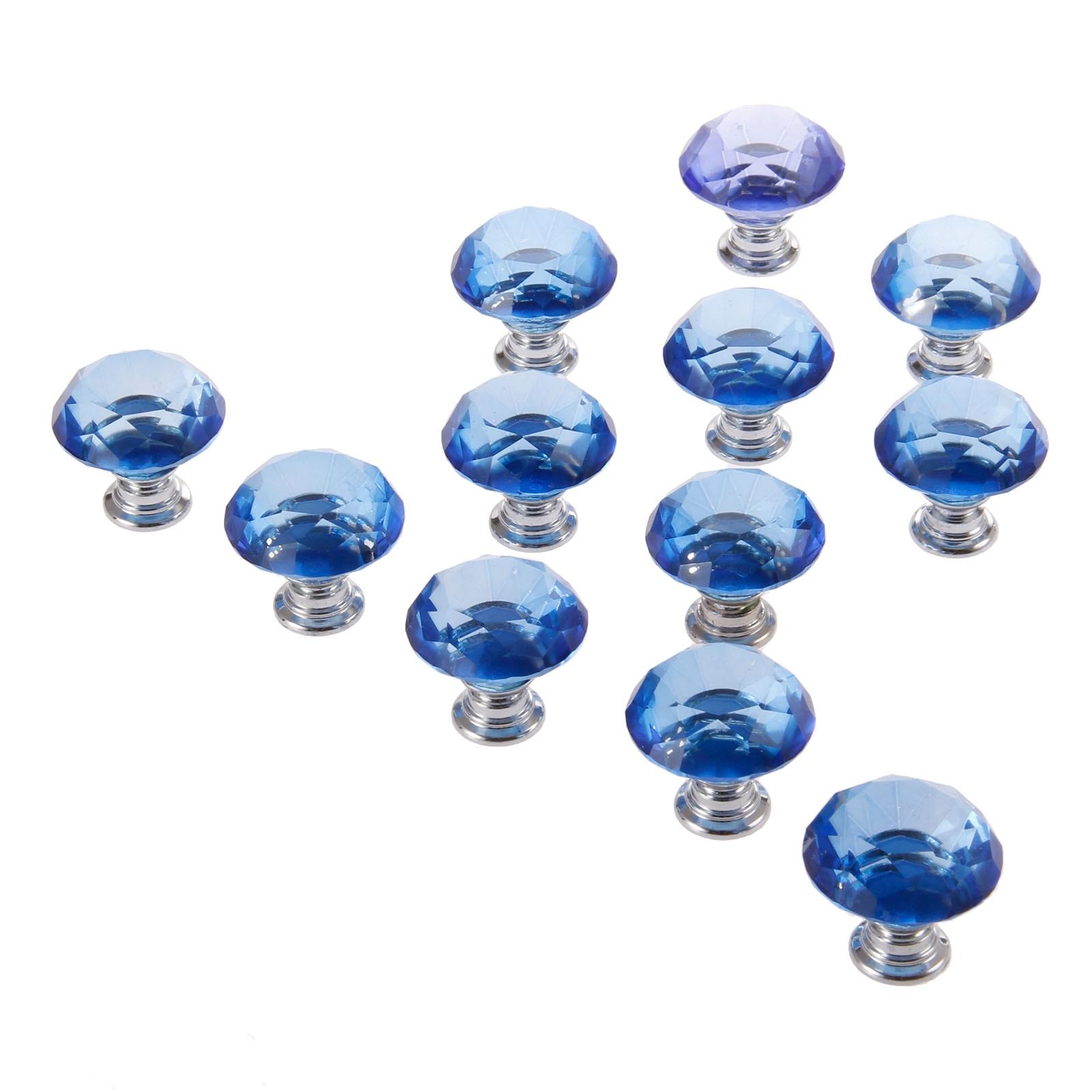 DRELD 12 Uds. Armario de diamantes azules, tiradores de cristal para puertas de cajones, tiradores de 30mm para armarios, manijas para muebles de cocina