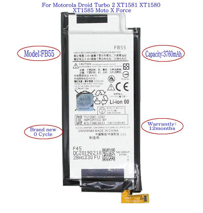 ISkyams 1x3760 mAh FB55 reemplazo de batería para Motorola Droid Turbo 2 XT1585 XT1580 XT1581 X baterías de fuerza