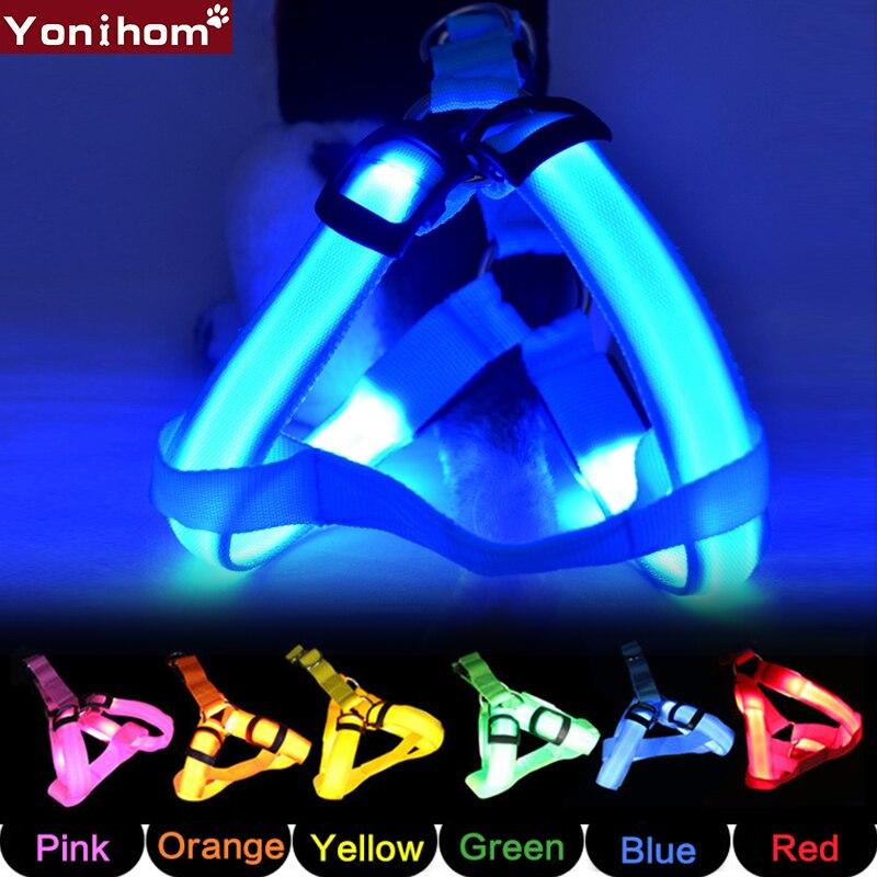 Arnés de perro pequeño LED brillante Collar luminoso de perro mascota luz nocturna para seguridad LED chaleco arnés para perro pequeño para cachorro Chihuahua