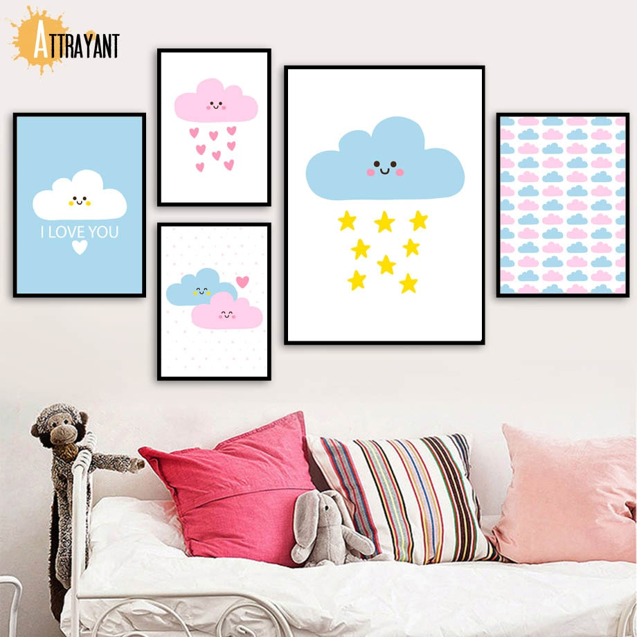 Tableau dessin animé nuage rose jaune   Citation étoile jaune, toile dart murale, affiches et imprimés nordiques, images murales, décor pour chambre denfants, pépinière