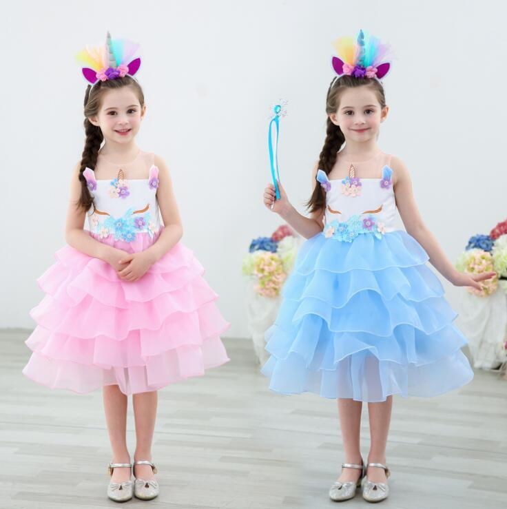 Free Shipping Unicorn Tutu Tulle Dress with Hair Hoop Princess Flower Girls Party Children Kids Halloween Costume