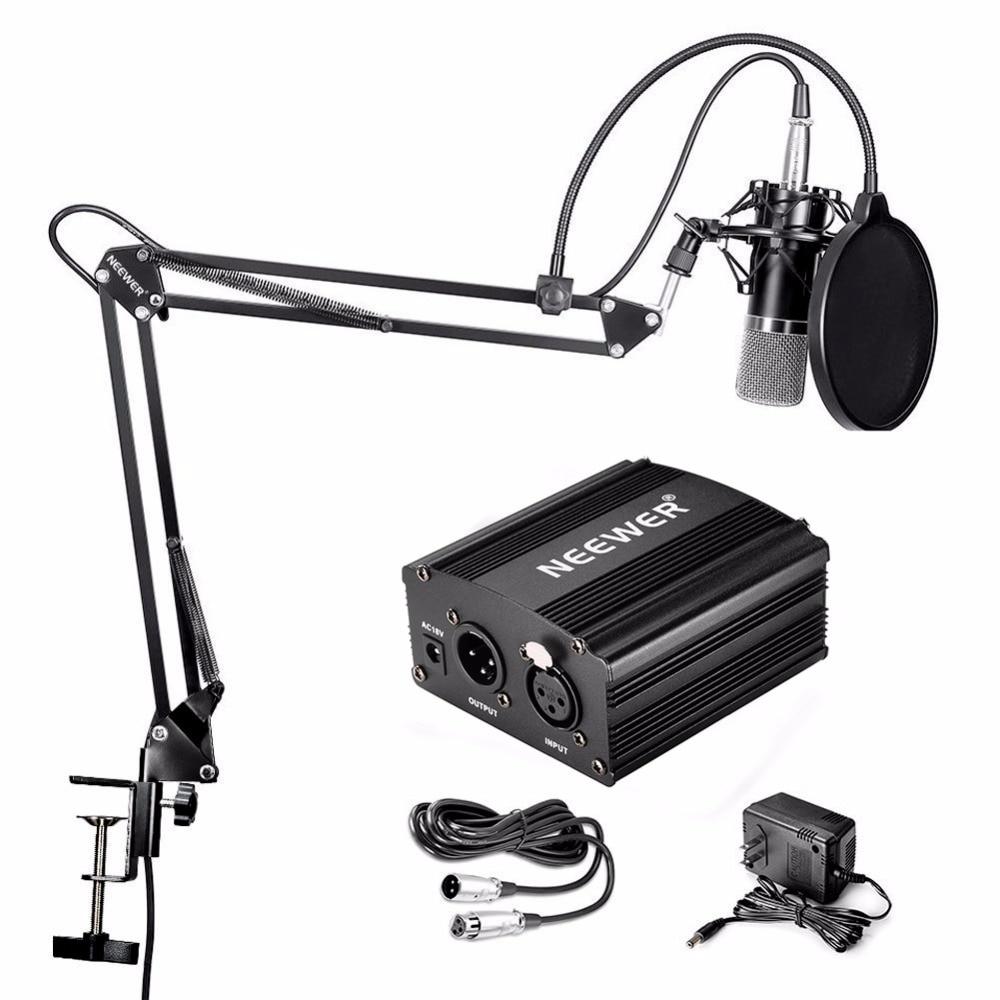 Конденсаторный микрофон Neewer NW-700, ножничная подставка для микрофона и NW-35, кабель XLR и монтажный зажим, поп-фильтр, комплект адаптеров Phantom
