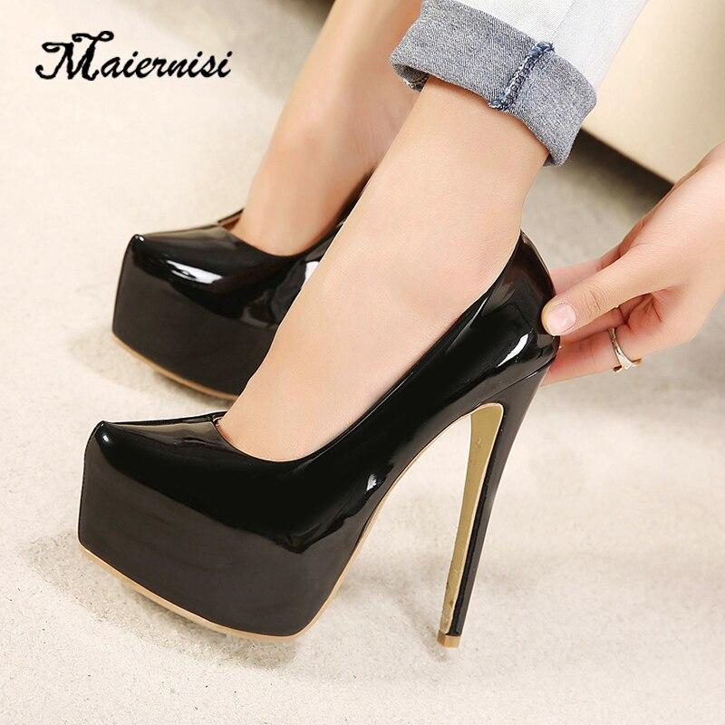 MAIERNISI talons hauts femmes pompes 15cm haut talon plate-forme pompes dames chaussures de mariage starge chaussures pour dames livraison directe