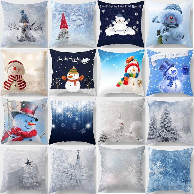 Fashion Christmas snowman  pillow cases  square Pillow case cute cartoon pillow covers size 45*45cm