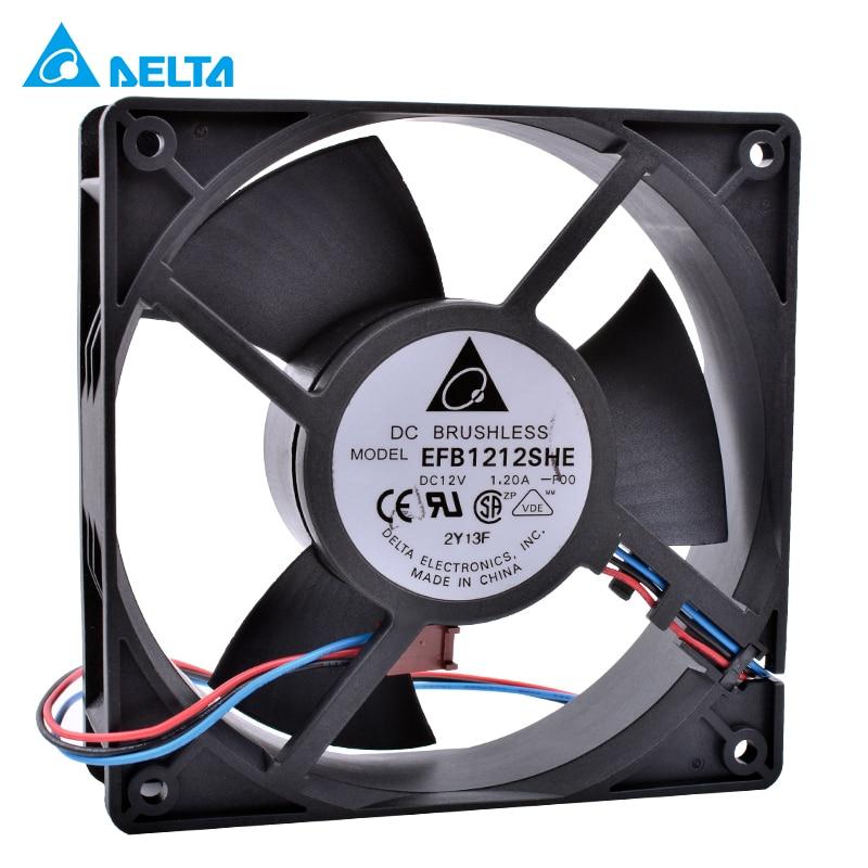 Новый и оригинальный вентилятор DELTA EFB1212SHE 12 см 120 мм 12038 DC 12V 1.20A с двойным шариковым подшипником, 3-контактный Вентилятор охлаждения с воздушн...